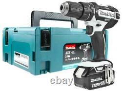 Makita DHP482 WHITE 18V + 1x4.0Ah BL1840 LXT Combi Drill Makpac Kit + DC18RC