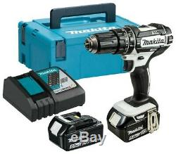 Makita DHP482RTWJ 18v LXT White Combi Drill 5.0Ah Batteries Charger and Case