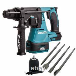 Makita DHR242Z 18V Brushless Hammer Drill & 4 Piece Chisel Set + Keyless Chuck