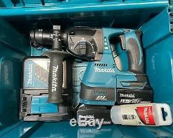 Makita DHR243Z 18V Brushless SDS+ Hammer Drill + 2 x 5Ah Batteries Charger Case