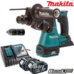 Makita DHR243Z 18V Brushless SDS+ Hammer Drill With 2 x 5Ah Batteries & Charger