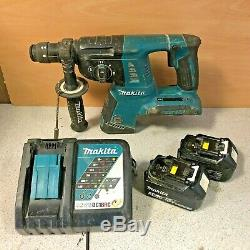 Makita DHR264 SDS Hammer Drill LXT 36v + 2x 3.0Ah BL1830 Batteries + Charger
