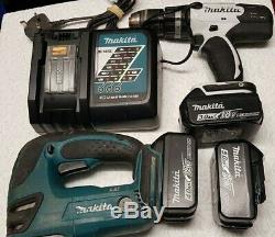 Makita DJV180Z 18V Cordless LXT Jigsaw DHP453 Combi Drill 3x batteries & Charger