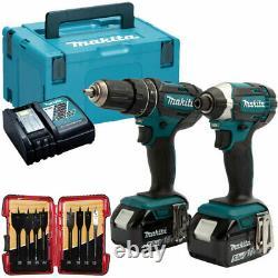 Makita DLX2131TJ 18V LXT Twin Kit 2 x 5.0Ah Batteries & 8 Piece Drill Bit Set