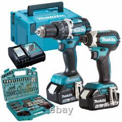Makita DLX2180TJ 18V Brushless Twin Kit 2 x 5.0Ah Batteries 101 Piece Drill Set