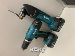 Makita DTM50 18v li-ion cordless multi tool + DHP453 Combi Drill 2x Batteries