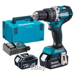 Makita Dhp484rtj 18v Lxt Brushless 2-speed Combi Drill 2 X 5.0ah Batteries