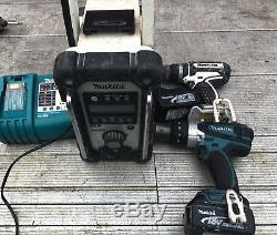 Makita Drill Set Combi Drill 18V & DAB RADIO 3AH BATTERIES LXT