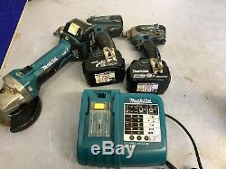 Makita Drill Set Combi Drill, Impact Drill & Angle Grinder 3x 3ah Batteries