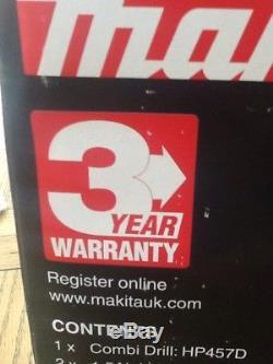 Makita HP457DWE10 18V Li-ion G Series Cordless Combi Drill 2 x 1.5 Ah Batteries