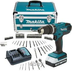 Makita HP457DWX4 G-Series 18V Combi Drill in Case with 70 Accessories 1 Battery