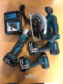 Makita Joblot Drills, Skill Saw, Charger, Angle Grinder & Batteries 18v