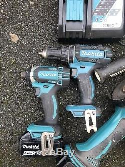 Makita Sds Drill Hammer Drill Driver Impact Driver Grinder 2x5.0ah Batterys Bag