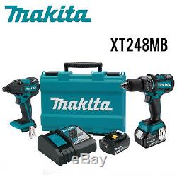 Makita XT248MB 18V LXT Li Ion Brushless Hammer Drill/Impact Driver Kit, 4.0Ah