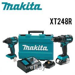 Makita XT248R LXT 18V Li-Ion Brushless 1/2 Hammer Drill Impact Combo Kit