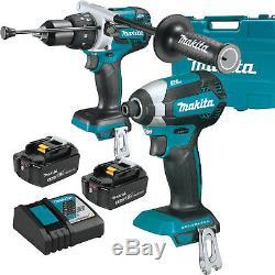 Makita XT267M 18V 4.0ah LXT XPH07 H-Drill + XDT08 Impact Driver 2-Batt Kit New