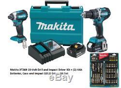 Makita XT269M 18-Volt LXT Hammer Drill + Impact Driver Kit + Driver Bit Set