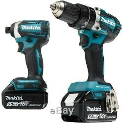 Makita XT275PT 18V LXT Brushless Hammer Drill Impact Driver Combo Kit 5 AH 220V