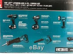 Makita XT506S 18 Volt Cordless Drill 5 Piece Combo Power Tool Kit with 2 Batt
