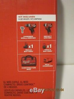 Milwaukee 2598-22 M12 FUEL 2-Tool Hammer Drill & Hex Impact Driver Kit-NISB F/SP