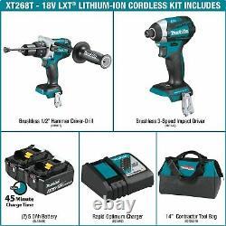 NEW Makita XT268T 18Volt LXT Lithium-Ion Brushless Hammer Drill & Impact Driver