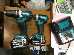 New Makita XDT13 1/4 Impact Driver, XPH12 Drill / Driver, (2)4.0 AH Batteries