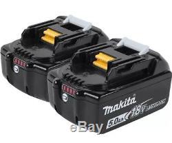 New Makita XT267T 18V 5.0 Ah LXT Li-Ion BL Hammer Drill & Impact Driver Kit