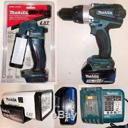 Used Makita 18v Combo Kit Drill/Driver-X2 Flashlights-Charger-5.0ah Batteries